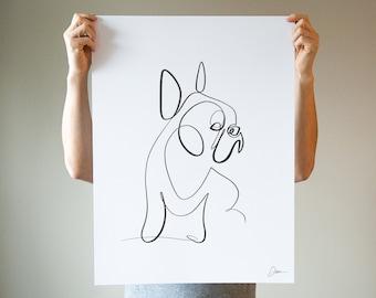 French Bulldog Art Print   Frenchie Portrait Drawing   One Line Dog Art   Dog Mom Dad Lover Gift   Dog Wall Decor