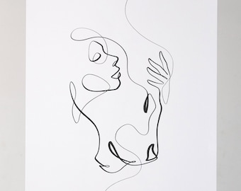 SPIRIT CALLING   Lioness Aesthetic Art Print   Extra Large One Line Art   Black and White Lion & Woman Drawing
