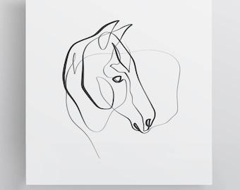 Paint Horse Print - Equine Line Art - Equine Print - Horse Gift - Paint Horse Art - Single Line - Abstract Horse Art - Equestrian Art