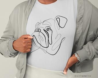 BULLDOG T-Shirt   Bulldog Lover Shirt   Line Art Drawing by With One Line   Bella+Canvas Unisex Size Sm-2XL