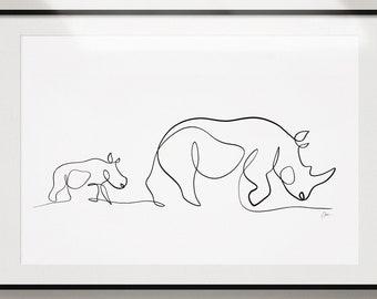 Rhinoceros Art Print   Mom & Baby Rhinos Drawing by With One Line   Nursery Art Rhino Wall Decor   Minimal Picasso Inspired Animal Art