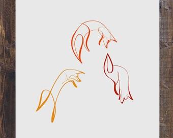 Single Line Art Print : Bear art print one line minimalist drawing woodland