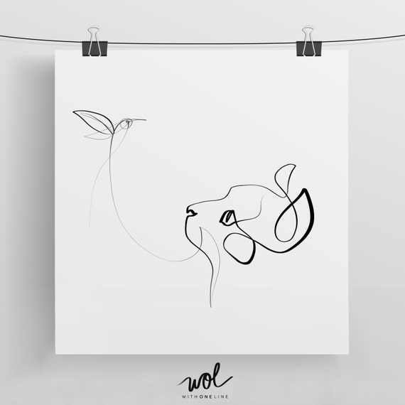 Line Drawing Etsy : Black and white cat art one line drawing etsy