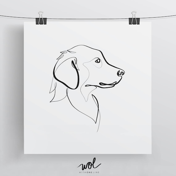 golden retriever print original one line art minimal dog etsy