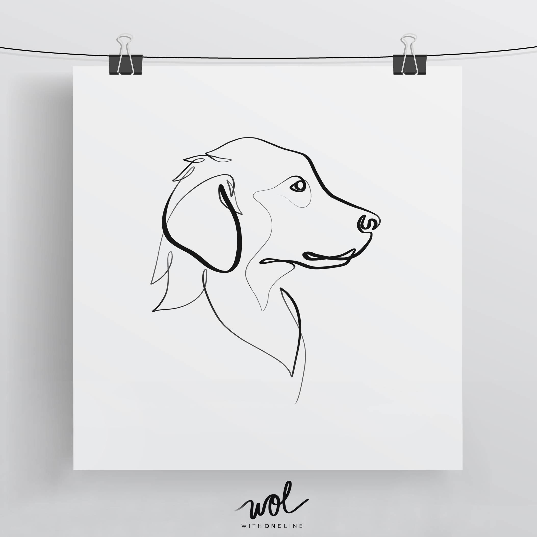 Golden Retriever Print Original One Line Art Minimal Dog