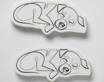 Pitbull Dog Sticker Set   One Line Dog Vinyl Sticker Set of 2   Pitbull Line Art   Single Line Dog Sticker by WithOneLine