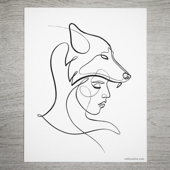 Line Art Wolf Tattoo: Items Similar To Minimal Wolf Print, Tattoo Ideas, One