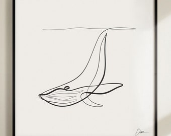 Printable Humpback Whale by WithOneLine