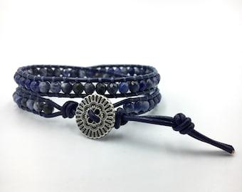 Blue Leather Wrap Bracelet - Sodalite Bracelet - Gemstone Bracelet - Leather Bracelet - Wrap Bracelet - Boho Bracelet - Gift for Her