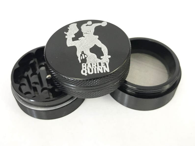 4 Pieces Black Aluminum Tobacco Spice Herb Grinder Crusher Lasts forever weed grinder Grinder weed pipe Harley Quinn Grinder weed