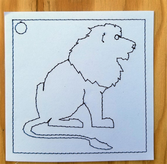 Embroidered Childrens Color Book Page 10 Lion Etsy