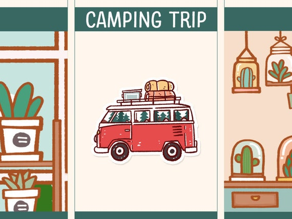 cute camping trip sticker cute camping trip planner stickers etsy