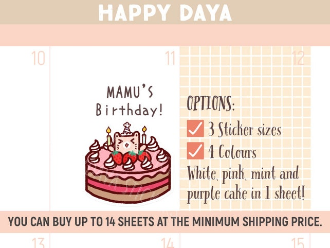 Cute Birthday Cake Stickers Kawaii Birthday Cake Stickers Etsy