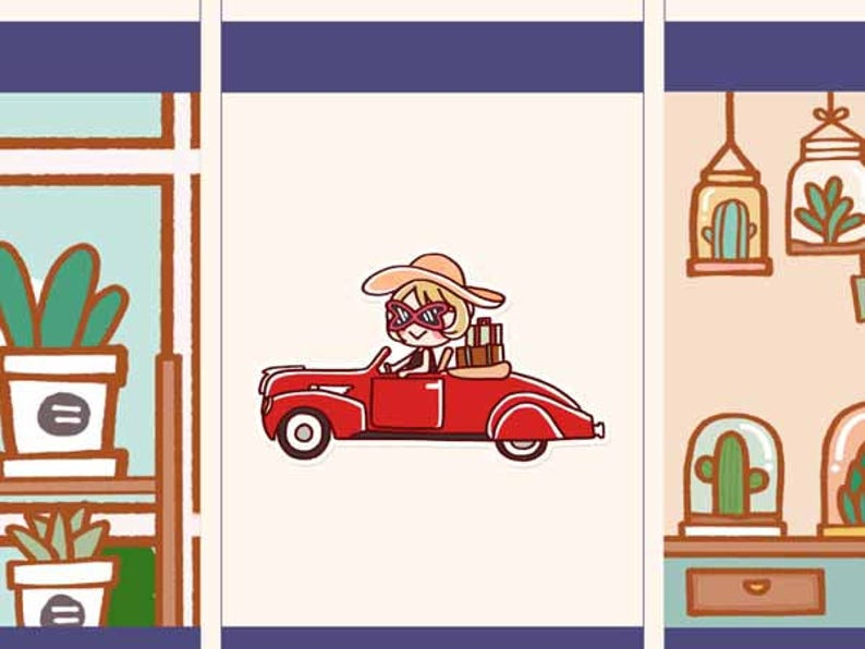 Cute Road trip Stickers, Road trip planner stickers, Cute Planner Sticker,  Kawaii girl sticker, Happy girl stickers, Travelling girl (HF020)