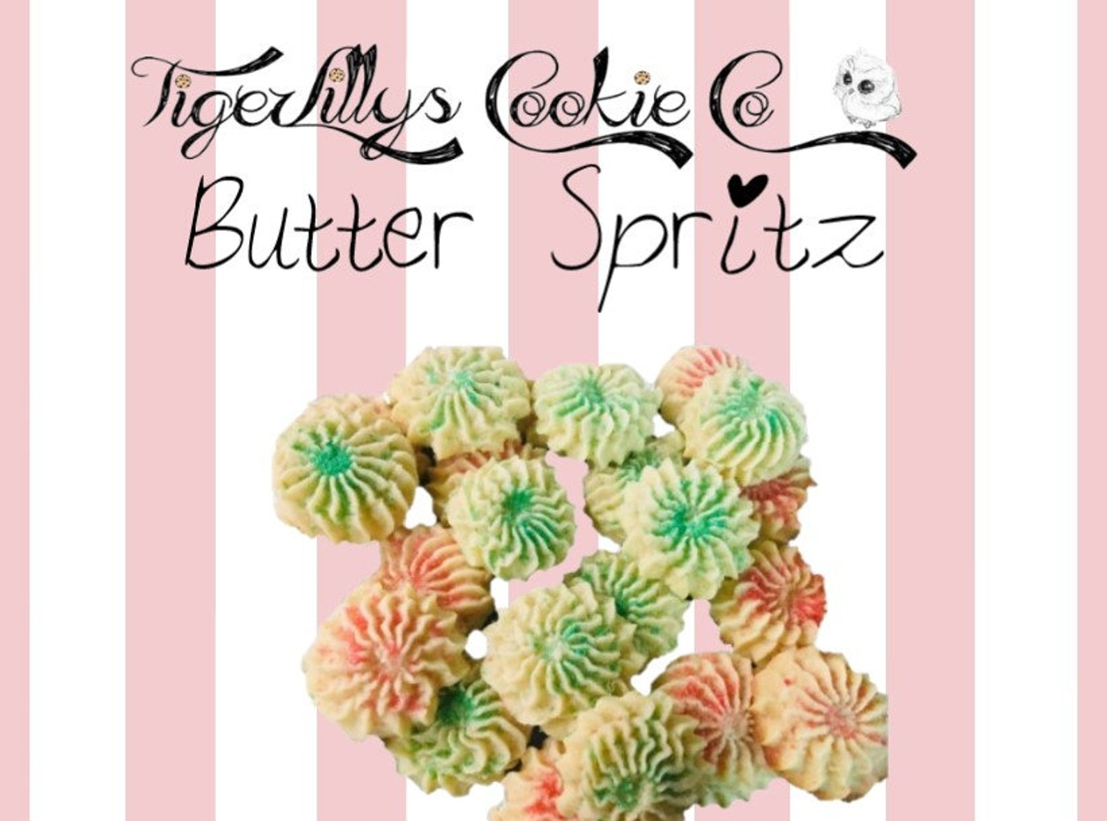 Homemade Delicious Buttery Spritz Cookies Bite Size by TigerLillys Cookie Co