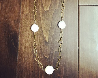 Pearl necklace, Pearl with chain, Minimalist necklace, Long necklace,