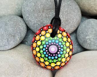 Chakra Mandala Necklace - Rainbow Mandala Stone - Paint Rock  - Meditation Rock - Rock Art - Dot Art - Hand-Painted Necklace - Pendant