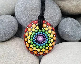 Chakra Rainbow Mandala Stone Necklace - Paint Rock - Mandala Meditation Rock - Rock Art - Dot Art - Hand-Painted Necklace - Mandala Pendant