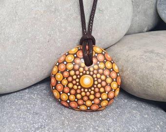 Orange Painted Necklace - Painted Rock - Hand-Painted Mandala Rock - Painted Stone - Mandala Pendant - Chakra - Meditation - Unique