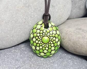 Painted Mandala Necklace - Mandala Art - Meditation Mandala Rock - Hand-Painted Necklace - Paint Rock - Boho Jewellery - Boho Jewelry