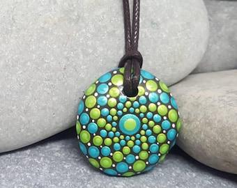 Mandala Necklace Pendant - Painted Rock - Hand-Painted Mandala Rock - Mandala Pendant - Painted Stone - Chakra - Meditation