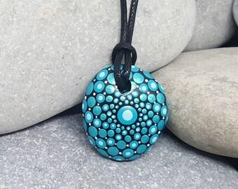 Painted Necklace - Turquoise Paint Rock - Mandala Rock - Dot Jewelry - Mandala Art - Hand-Painted Pendant Stone - Chakra