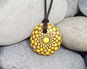Sunshine Painted Necklace - Yellow Painted Rock - Hand-Painted Mandala Rock - Painted Stone - Mandala Pendant - Chakra - Meditation - Unique