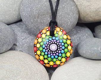 Chakra Painted Necklace - Mandala Art - Painted Rock - Mandala Meditation Rock - Rock Art - Dot Art - Painted Pendant - Mandala Pendant