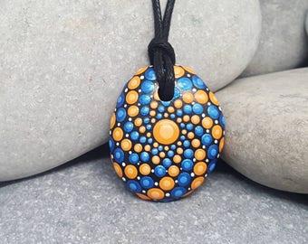 Blue Painted Necklace - Paint Rock - Mandala Rock - Dot Jewelry - Mandala Art - Hand-Painted Pendant Stone - Chakra - Metallic