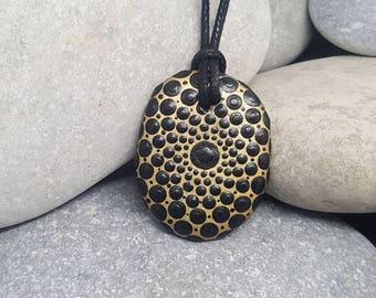 Black Gold Painted Necklace - Paint Rock - Mandala Rock - Pendant - Mandala Art - Hand-Painted Pendant Stone - Chakra - Metallic