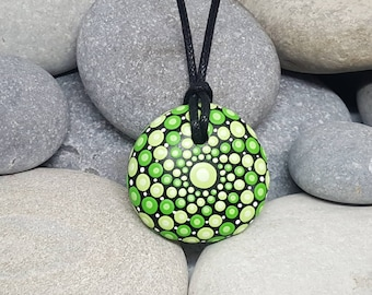 Green Painted Necklace - Unique Necklace - Meditation Mandala Rock - Hand-Painted Necklace - Paint Rock - Boho Jewellery - Boho Jewelry