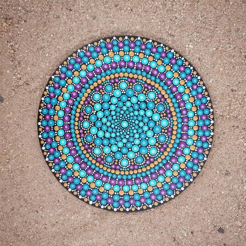 Turquoise Wood Mandala Art Painting image 0