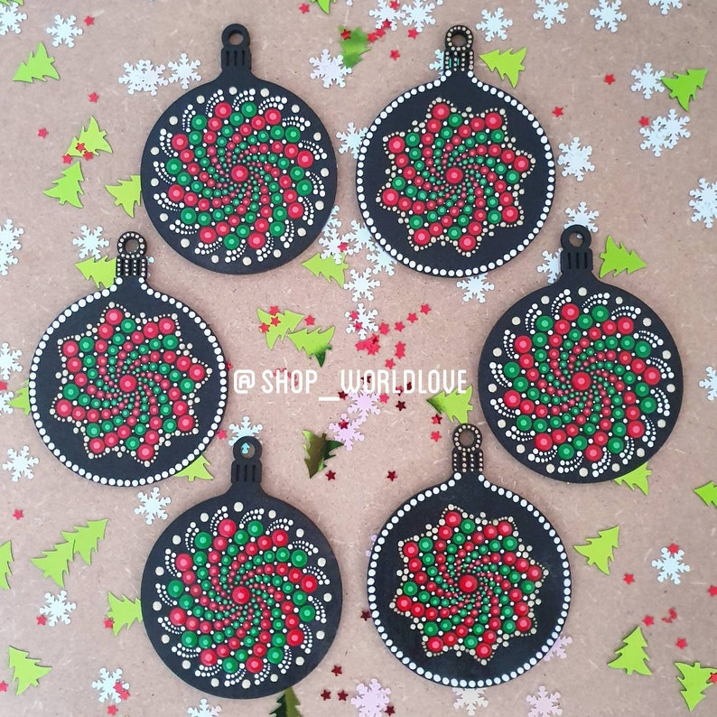 Christmas Decorations Mandala Dot Art image 0