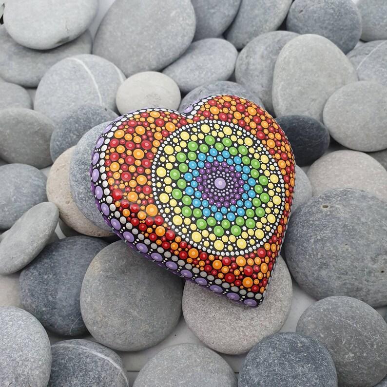 Heart Rainbow Mandala Dot Art Stone image 0