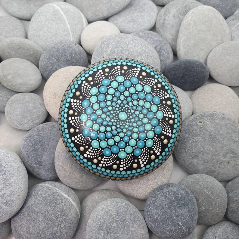 Turquoise Painted Mandala Stone image 0