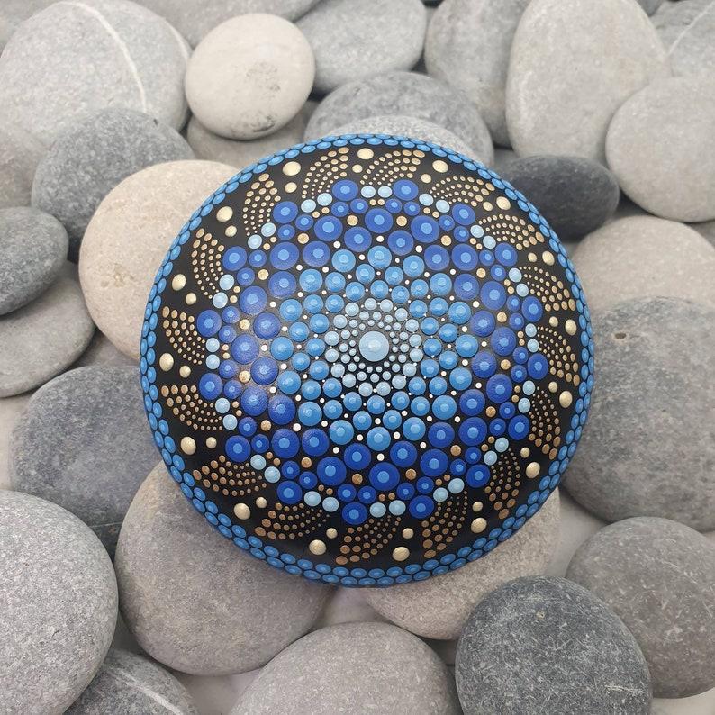 Blue Dot Art Mandala Stone image 0