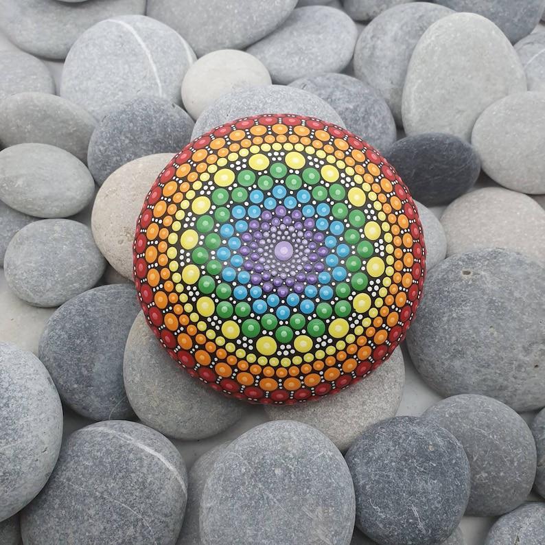 Chakra Dot Art Mandala Stone image 0