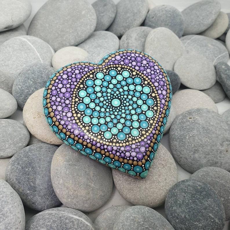 Turquoise Heart Mandala Dot Art Stone image 0