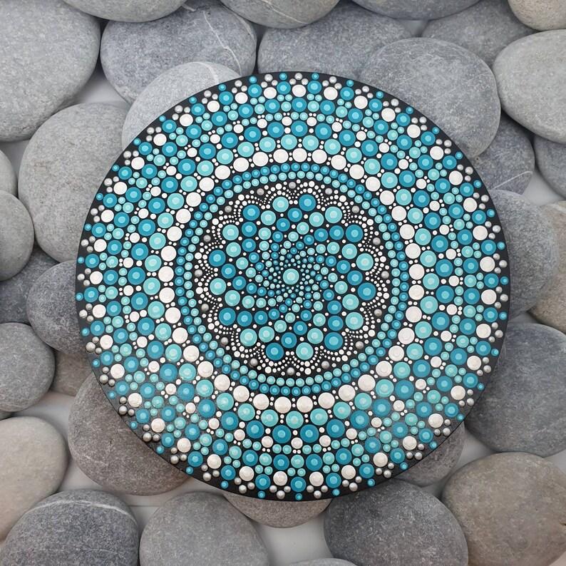 Turquoise Meditation Mandala Dot Art Painting image 0