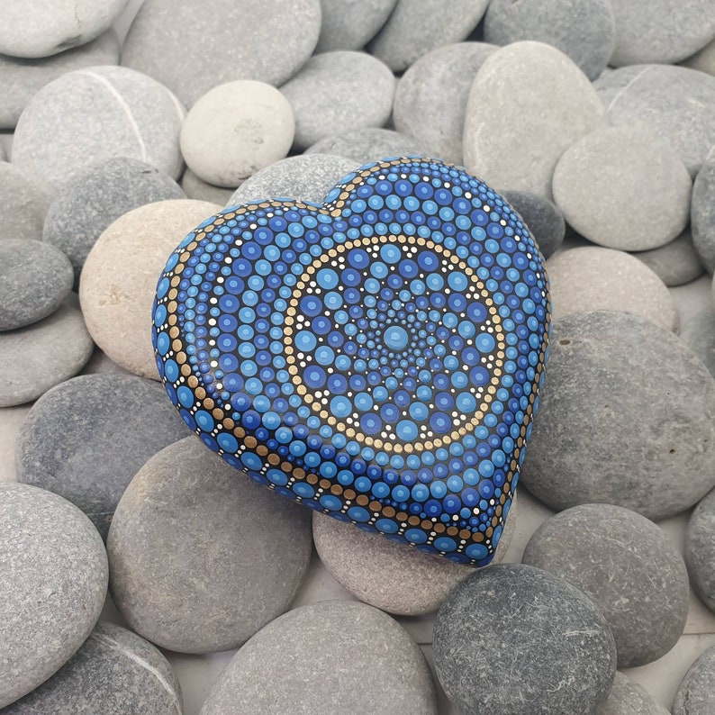 Blue Heart Mandala Dot Art Stone image 0