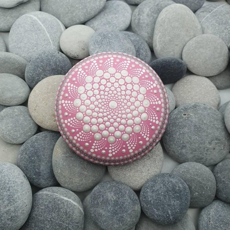 Pink Mandala Dot Art Stone image 0