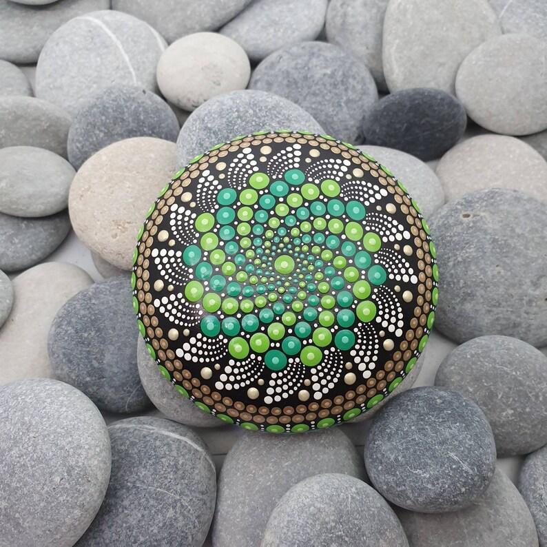 Dot Art Green Mandala Stone image 0