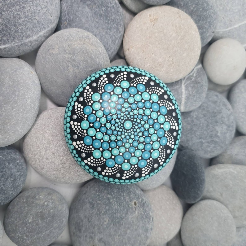 Mandala Dot Art Stone in Turquoise image 0