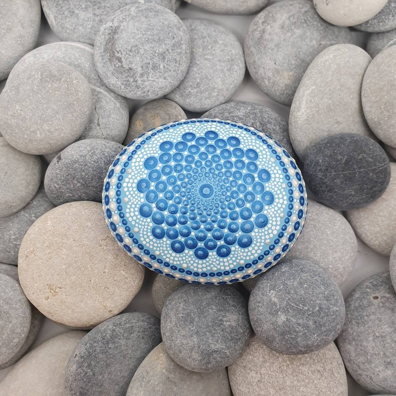 Blue Unique Painted Rock Dot Art image 0