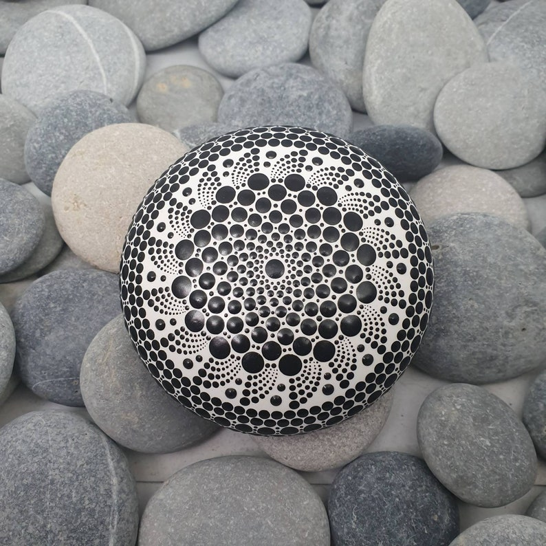 Monochrome Dot Art Mandala Stone image 0