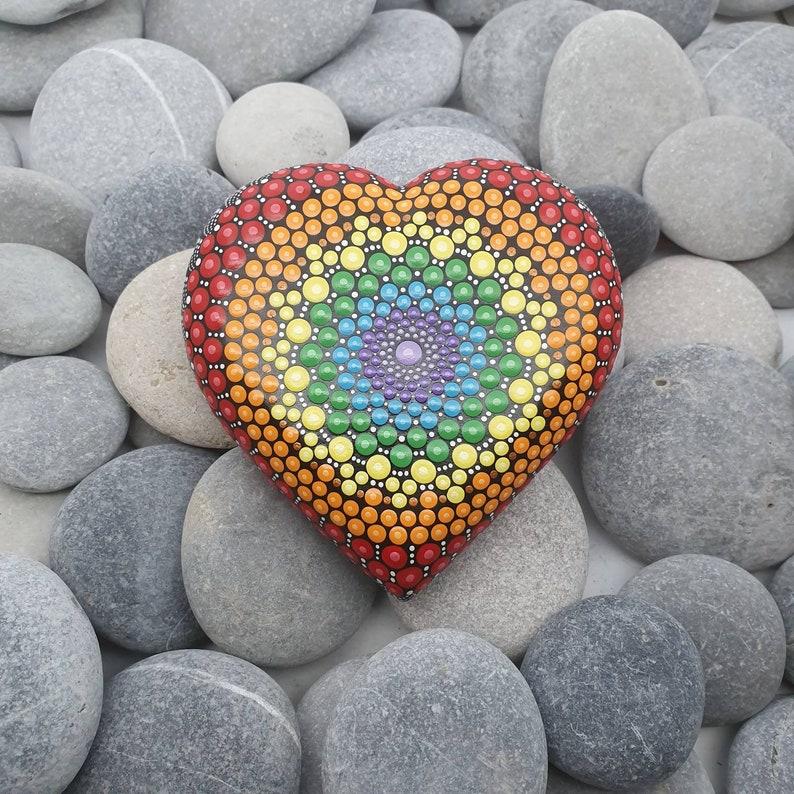 Chakra Heart Mandala Dot Art Stone image 0