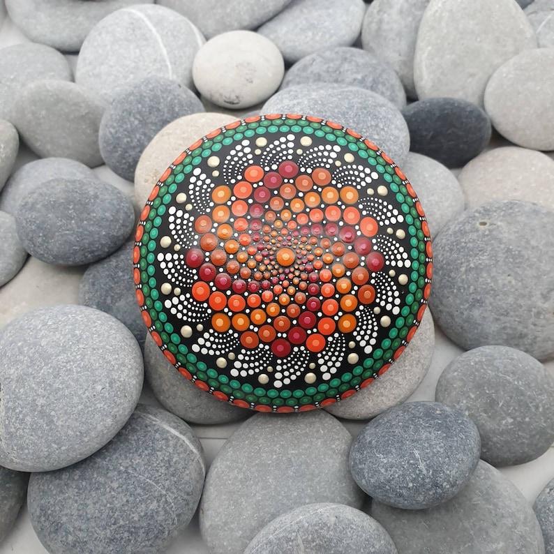 Autumn Painted Mandala Stone image 0
