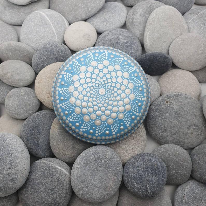 Blue Mandala Dot Art Stone image 0