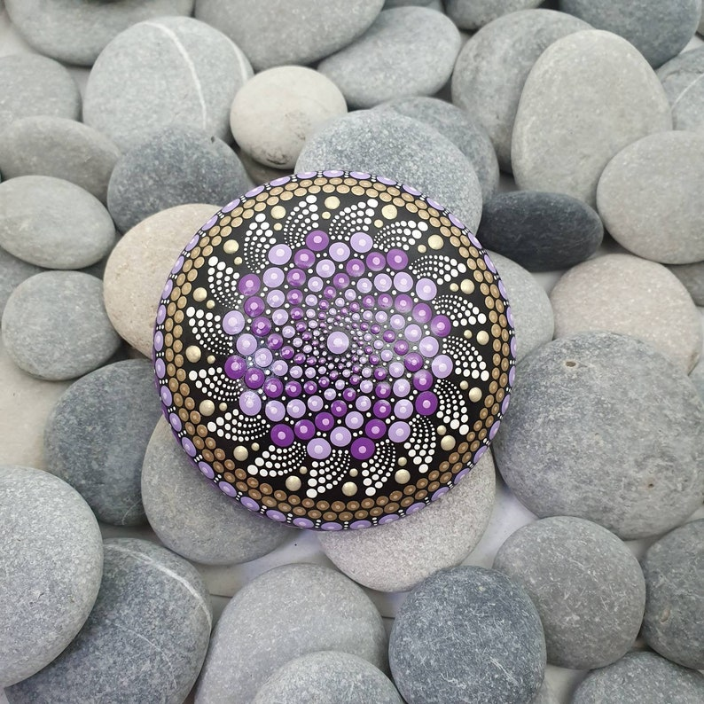 Purple Painted Mandala Stone image 0