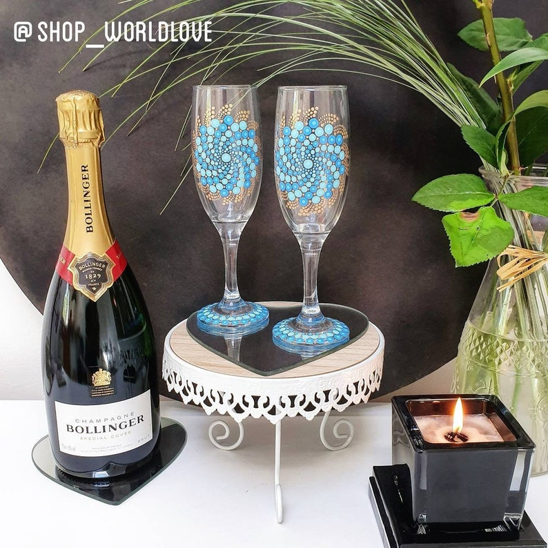 Blue Hand-painted Champagne Glasses  Set of 2 image 0